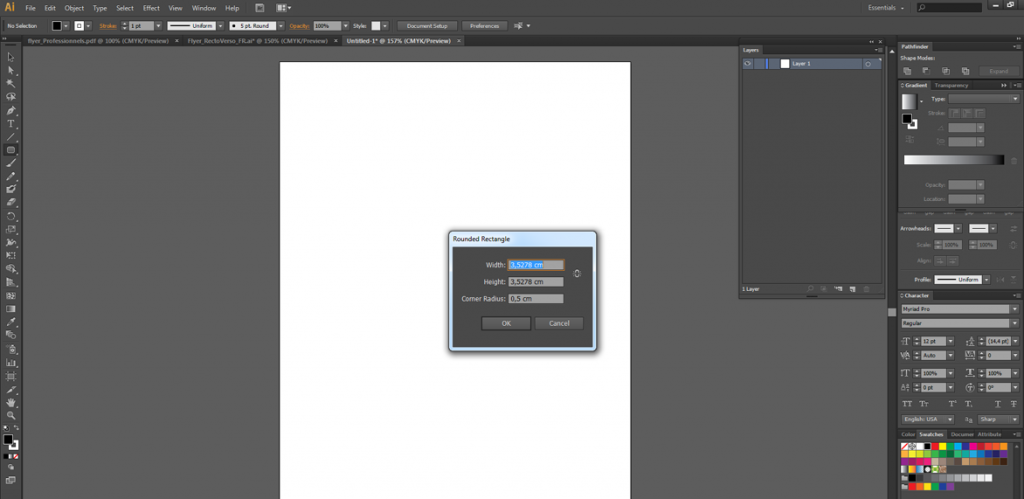 Rectangles avec Coins Arrondis sur Illustrator