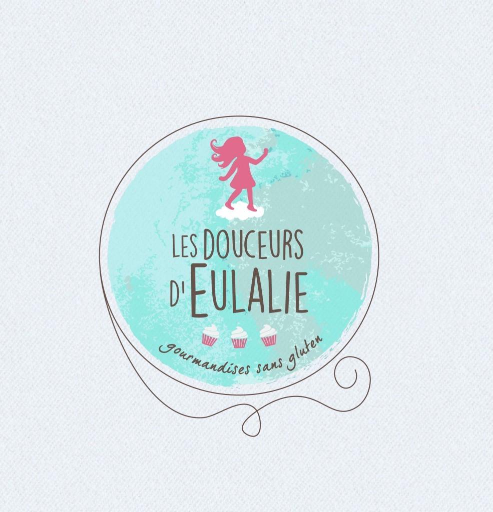 Logotype de Les Douceurs d'Eulalie réalisé en vectoriel (texture aquarelle aussi). L'image de fond est en bitmap.