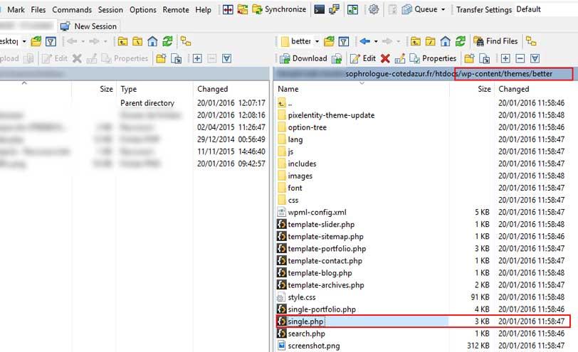 Nous récupérons le fichier single.php localisé dans le thème original sur le serveur.