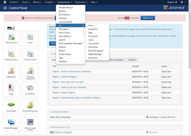 Backoffice Joomla 3.4.5