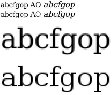 Exemple d'optimisation de rendu ou hinting de typographie sous TrueType