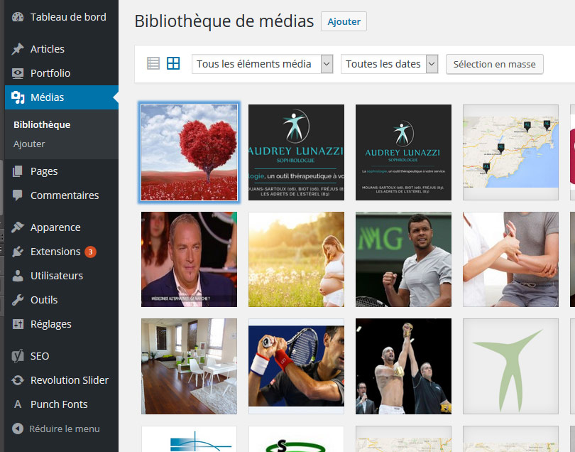 Bibliothèque de Médias dans WordPress