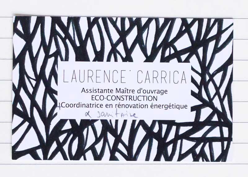 Carte de visite de la cliente Laurence Carrica. Le motif original a été réalisé par l'artiste Emma Joy.