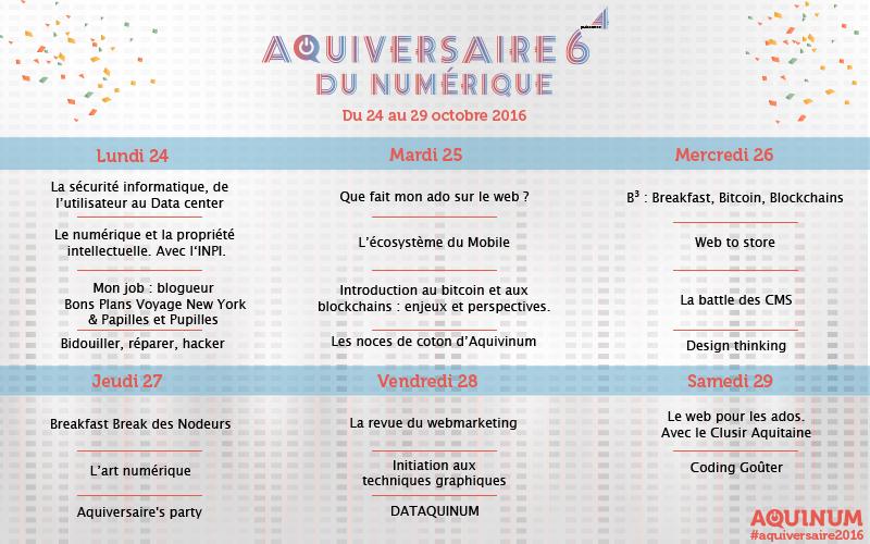 Programme Aquinum Aquiversaire 2016