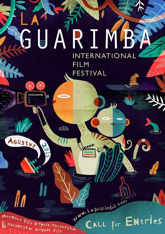 Affiches pour votre inspiration au printemps - Affiche du festival de cinéma La Guarimba. Par Aditya Pratama.