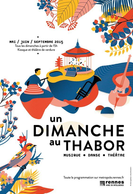 Illustrations pour votre inspiration au printemps - Affiche de l'événement Un Dimanche au Thabor. Réalisé par Pollen Studio.