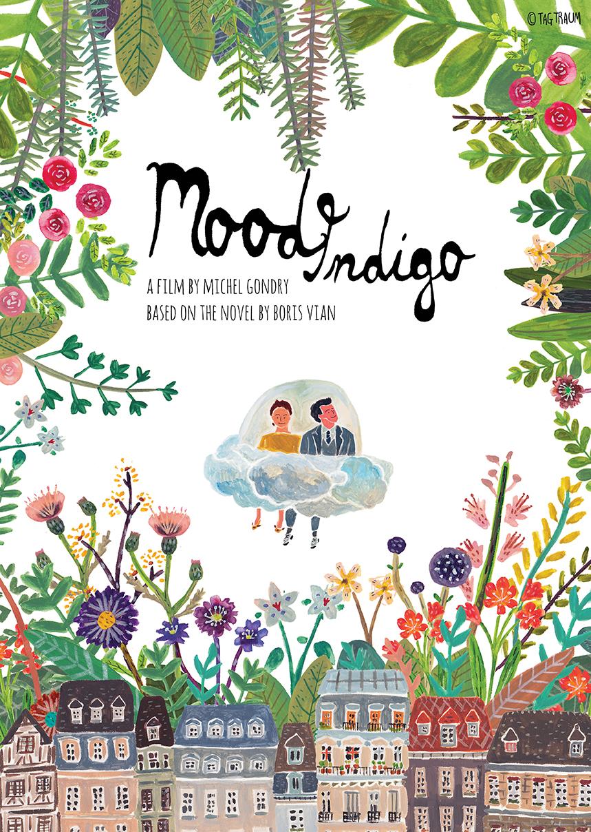 Illustrations pour votre inspiration au printemps - Affiche alternative du film Mood Indigo. Affiche réalisée par Tagtraum.