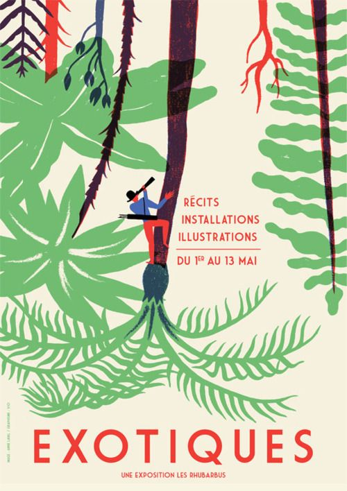 Illustrations pour votre inspiration au printemps - Affiche pour l'exposition Exotiques. Réalisé par Vincent Goudeau