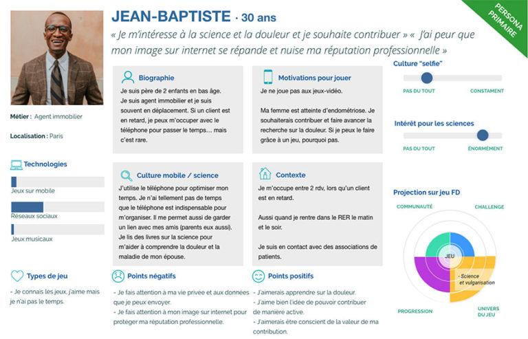 """Proto-persona primaire """"Jean-Baptise, 30 ans"""""""